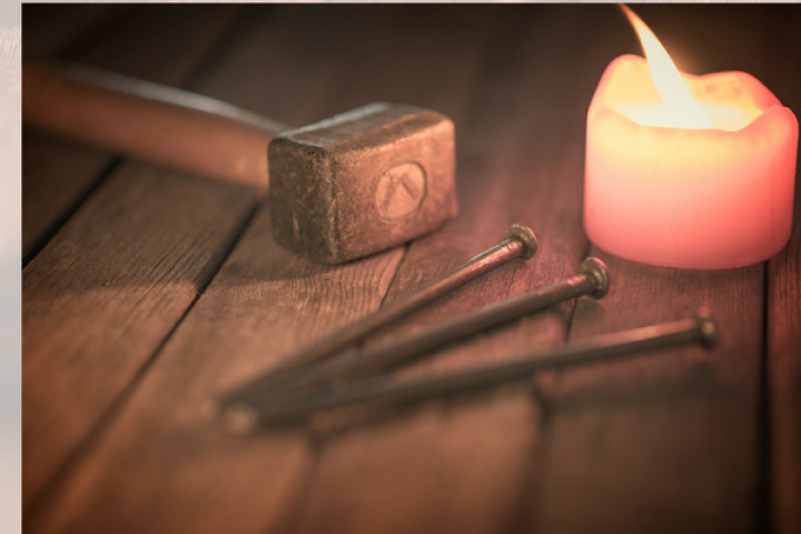 candle, nails, hammer