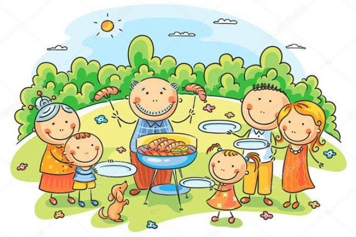 cartoon family at picnic