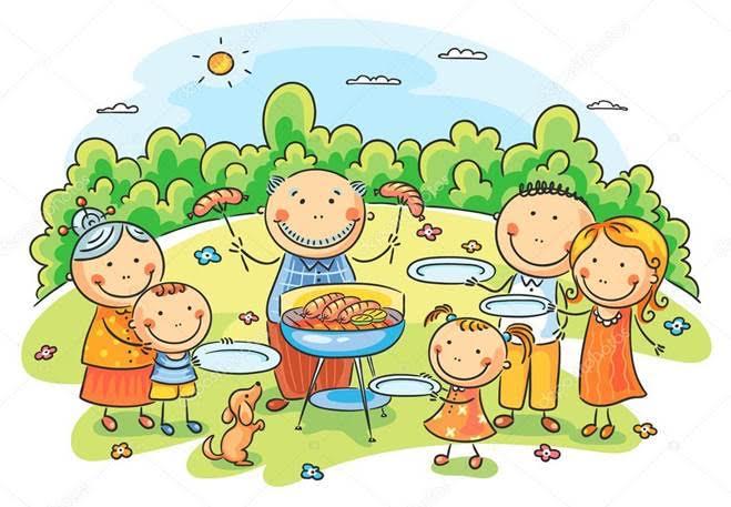 cartoon family at picnic