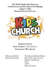 KIds Church Aug. 2, 2020